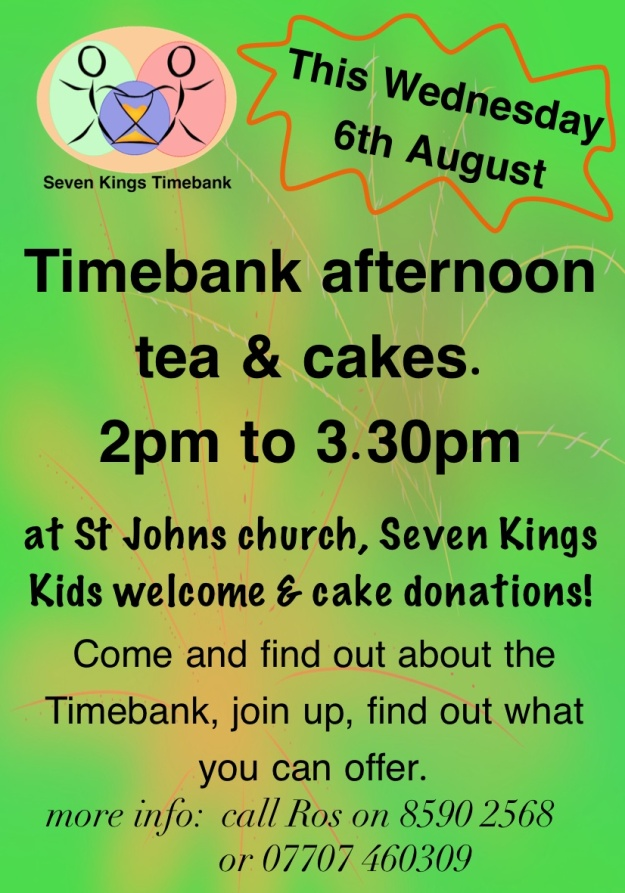 Timebank afternoon tea invite aug 14