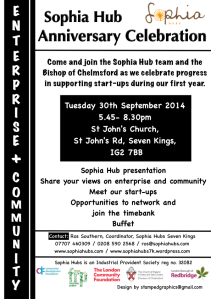 Sophia Hubs anniversary & business networking flyer A5s 30.9.14
