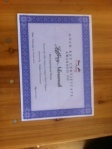 jefffery award certificate