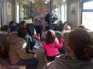 Francesca blog reading on the train