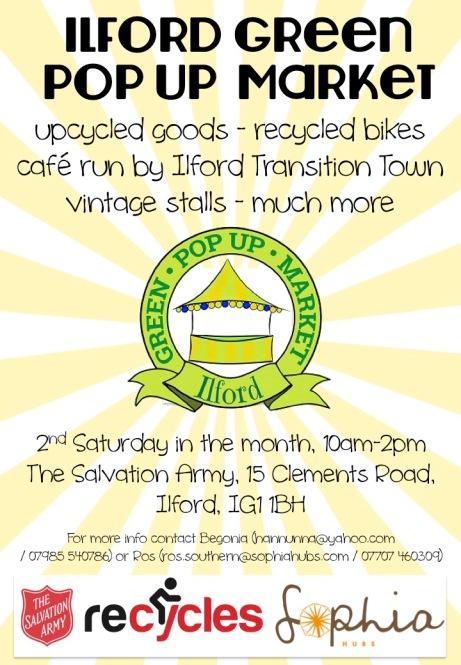 Ilford green pop up market flyer
