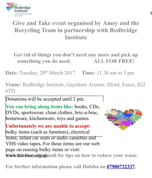 give and take stall 28 March 2017