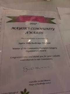Mayors award certificate